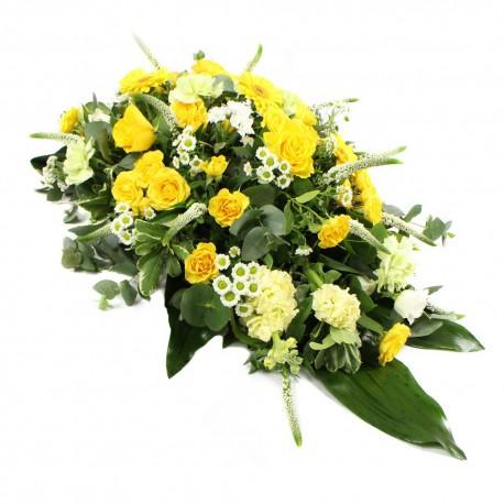 Funeral spray yellow/white